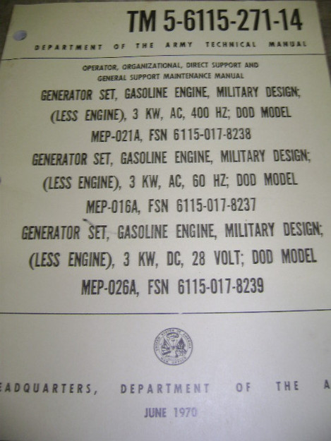 U.S. Military Designed Generator Set Technical Manual