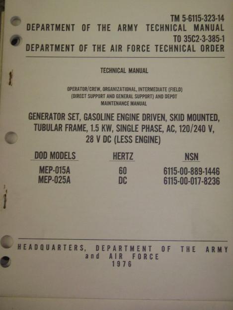 Gasoline (1.5KW) Generator Set Manual