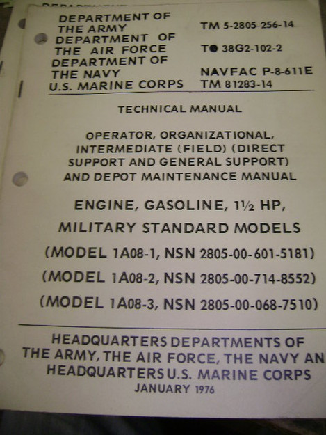 U.S. Military Gasoline Engine (1.5HP) Technical Manual