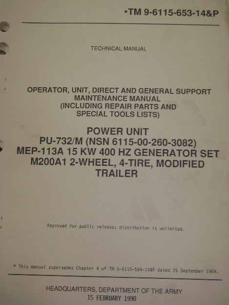 Power Unit PU-732/M MEP-113A Generator Set (M200A1) Manual