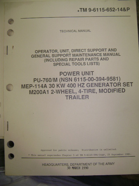 Power Unit PU-760/M MEP-114A Generator Set (M200A1) Manual