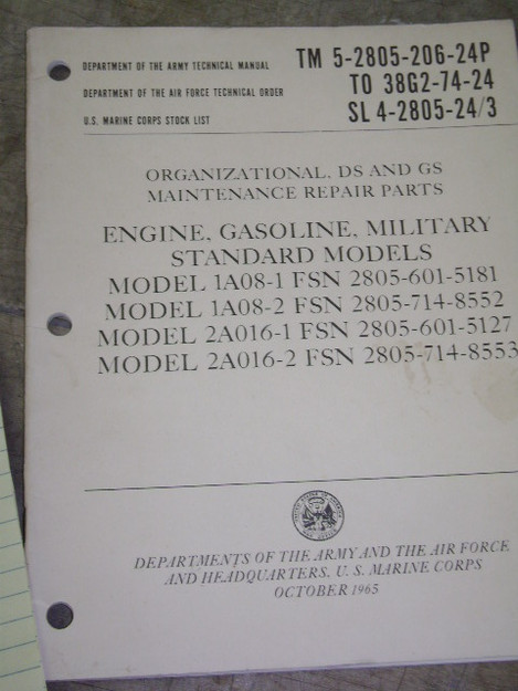 U.S. Military Standard Engine (gasoline) Models Manual