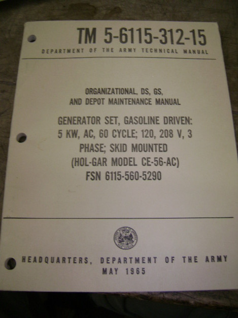 Generator Set (Hol-Gar model CE-56-AC) Manual