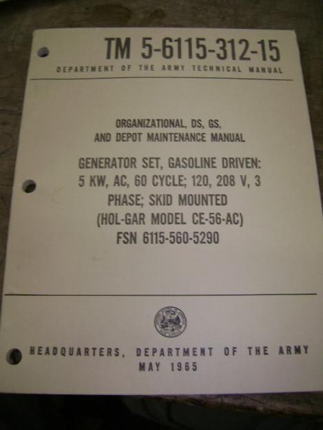 Generator Set (Hol-Gar model CE-56-AC) Manual