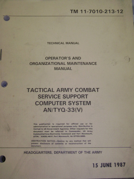 U.S. Army Tactical Combat Computer System
