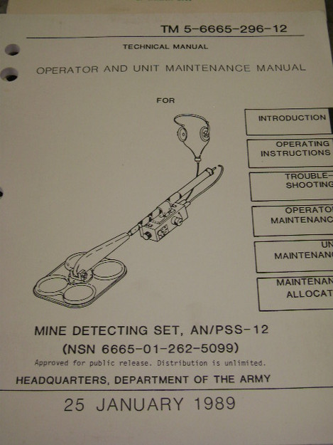 Mine Detecting Set (AN/PSS-12) Manual