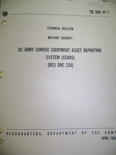 U.S. Army Comsec Equipment Asset Reporting System