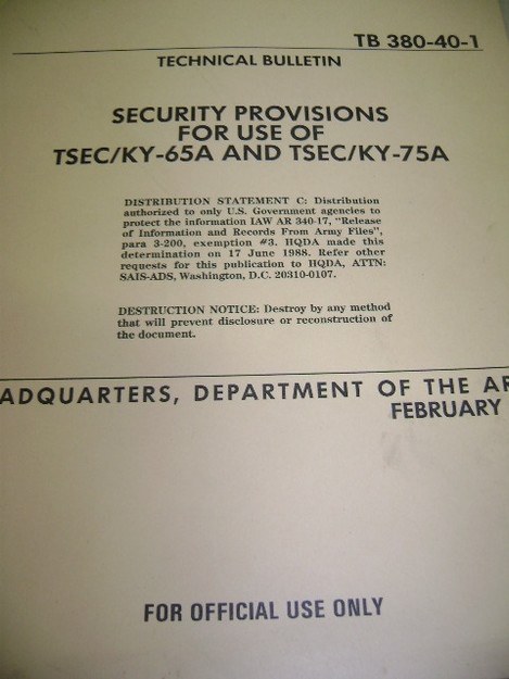 Security Provisions for Use of TSEC/KY-65A and TSEC/KY-75A