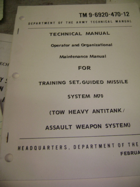 Training Set for Guided Missile System (M70) Technical Manual