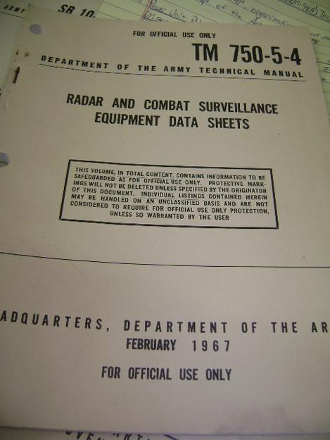 Radar and Combat Surveillance Equipment Data Sheets