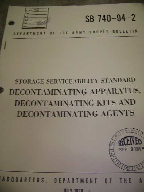 Storage Serviceability Standard for Decontaminating Kits