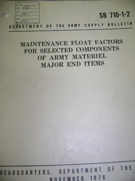 Maintenance Float Factors for Selected Components of Army