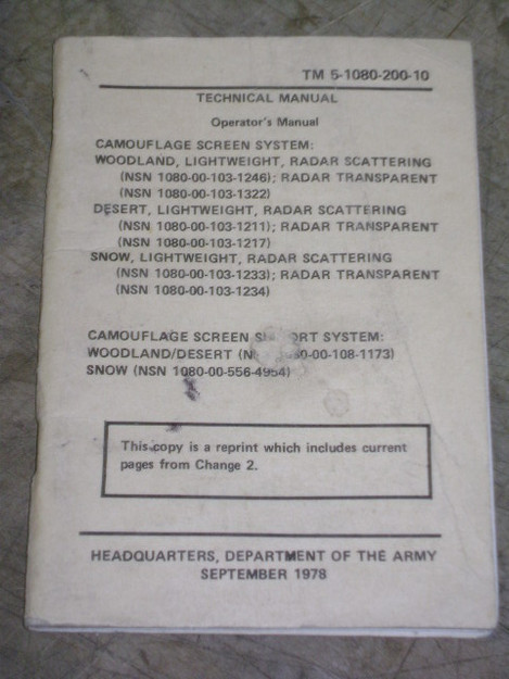 Camouflage Screen System Technical Manual