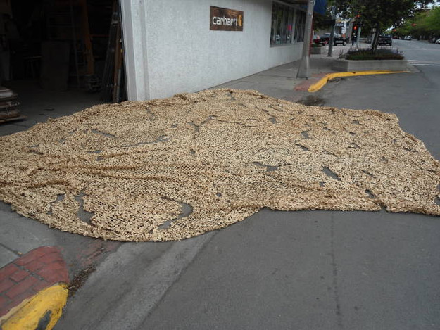 U.S. Military 18′ x 32′ Desert Camouflage Net - view from distance to see size