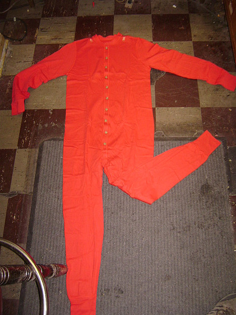 Red Cotton Union Suit