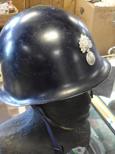 French Army Helmet with Flaming Bomb Insignia