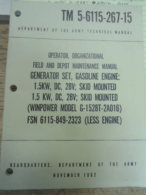 U.S. Army TM 5-6115-267-15 Generator Set Manual
