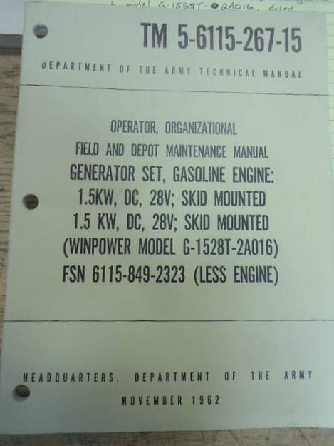 U.S. Army TM 5-6115-267-15 Generator Set Manual
