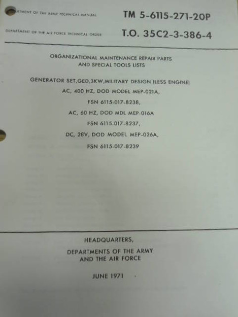 U.S. Army TM 5-6115-271-20P 3KW Generator Set Manual