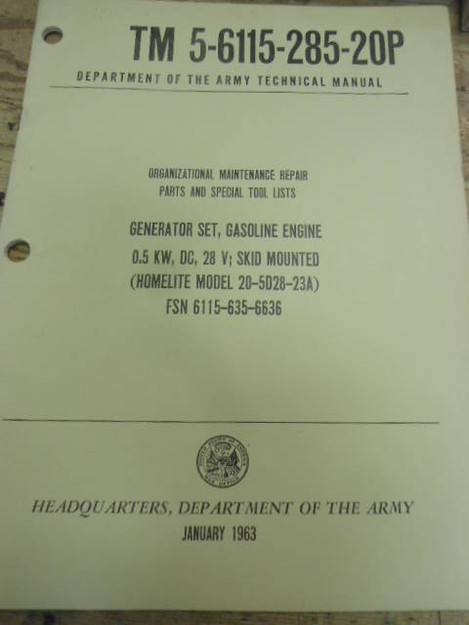 U.S. Army Generator Set 20-5D28-23A Technical Manual