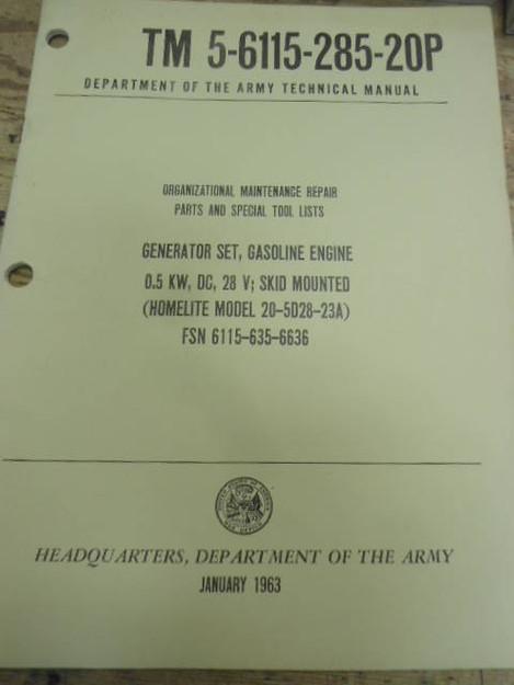 U.S. Army Generator Set 20-5D28-23A Technical Manual
