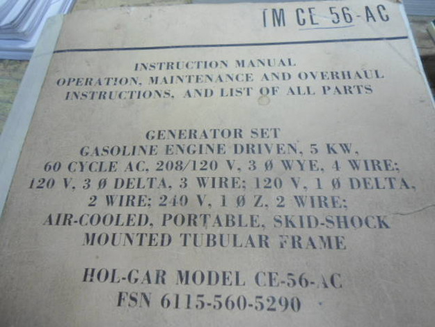 U.S. Army TM CE-56-AC (Hol-Gar Model) Generator Manual