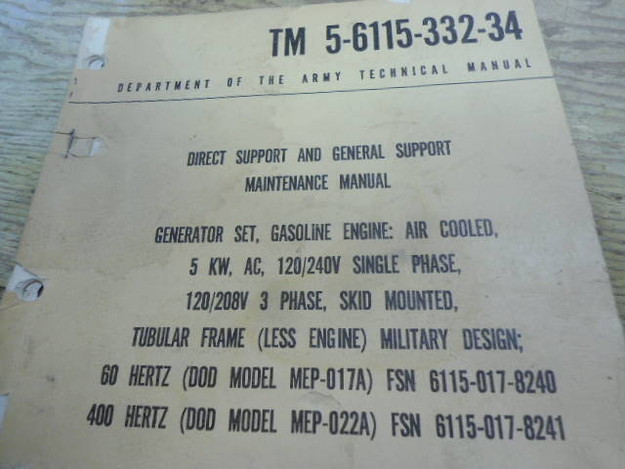 U.S. Army TM 5-6115-332-34 Gas Generator Manual