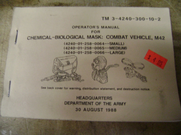 Operator's Manual for Chemical-Biological Mask: Combat Vehicle