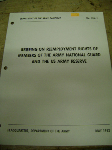 Briefing on Reemployment Rights of Members of the Army National
