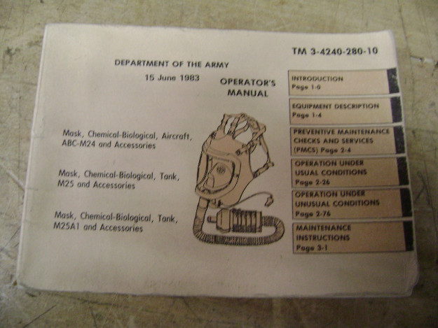 Operator's Manual, Mask, Chemical-Biological, Aircraft, Tank