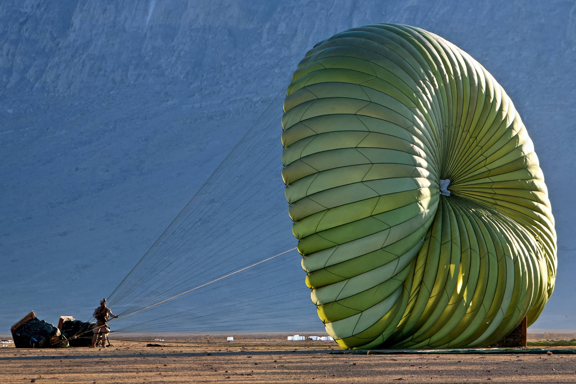 Military Cargo Parachutes in action