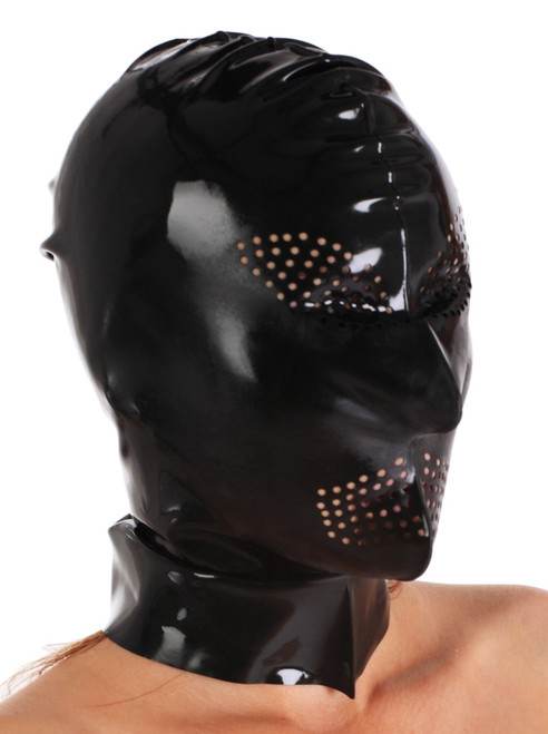 Hood with Perforations for Eyes and Mouth
