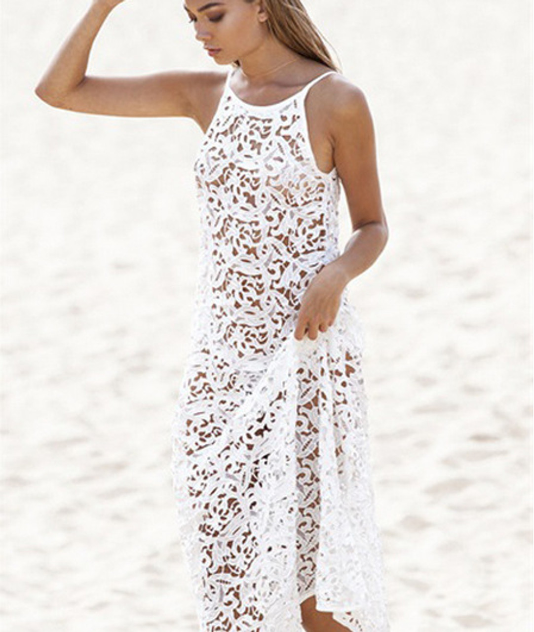 5ef1f312f16694 Hollow Out White Lace Beach Cover Up Dress - psfashiontrend