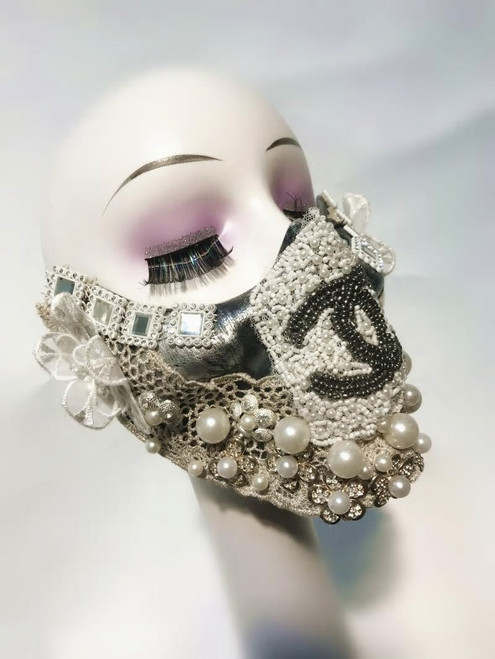 Jeweled  Floral Applique Pearl Mask