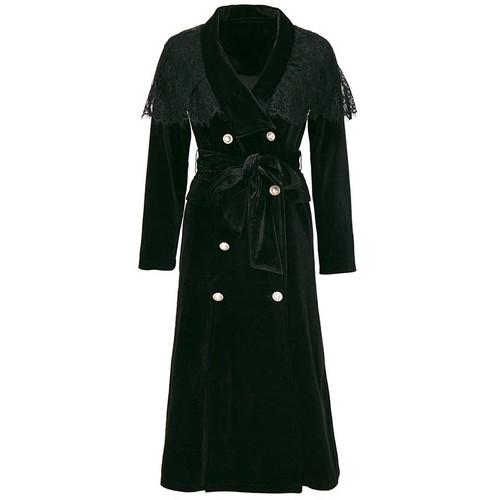Velvet Double Breasted Cape Coat