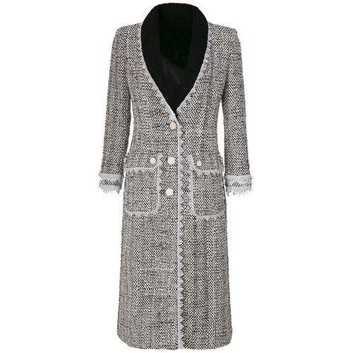 Single Breasted Tweed Button Down Coat
