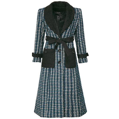 Single Breasted  Wool Tweed Belt Coat