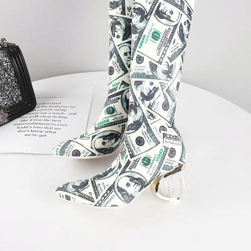 Currency Print Stretch Booties