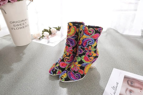 Embroidered  Colorful Stretch Booties