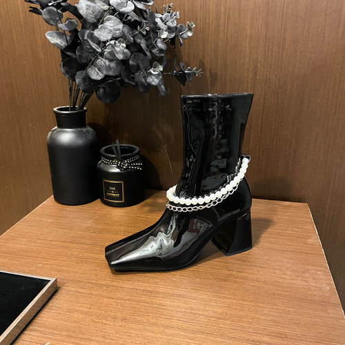 Pearl and Chain Patent Leather Mid Leg Boots