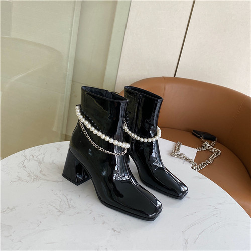 Pearl and Chain Patent Leather Ankle Boots