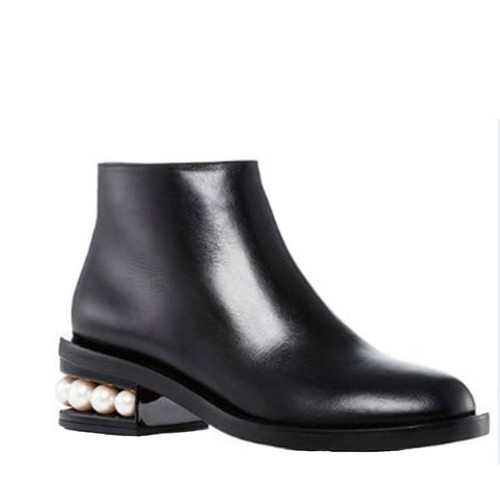 Pearl Heeled Leather Booties