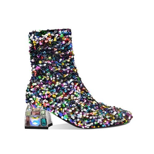 Sequined Crystal Heel Booties