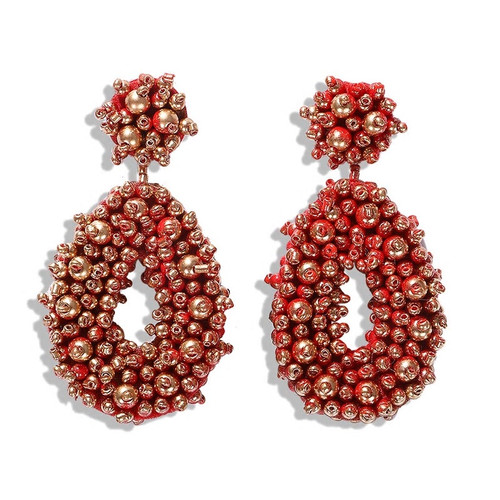 Beaded Bohemian Drop Red and Gold Earrings