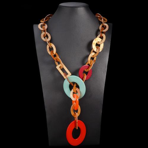 High Fashion Tortoise Multi Color Link Necklace