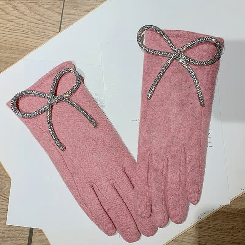 Cashmere Bow Fashion Pink Gloves