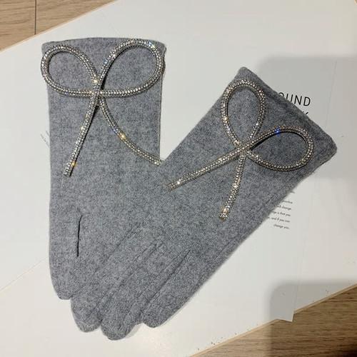 Cashmere Bow Fashion Grey Gloves
