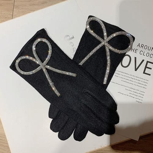 Cashmere Bow Fashion  Black Gloves