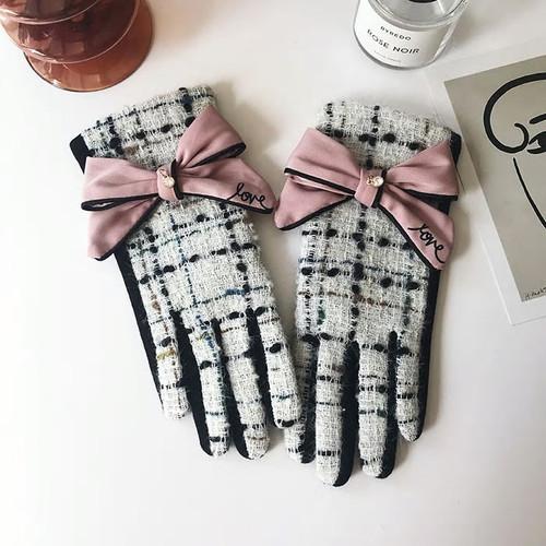 Cashmere Bow Tweed Fashion White Gloves