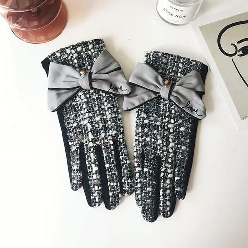 Cashmere Bow Tweed Fashion Grey Gloves